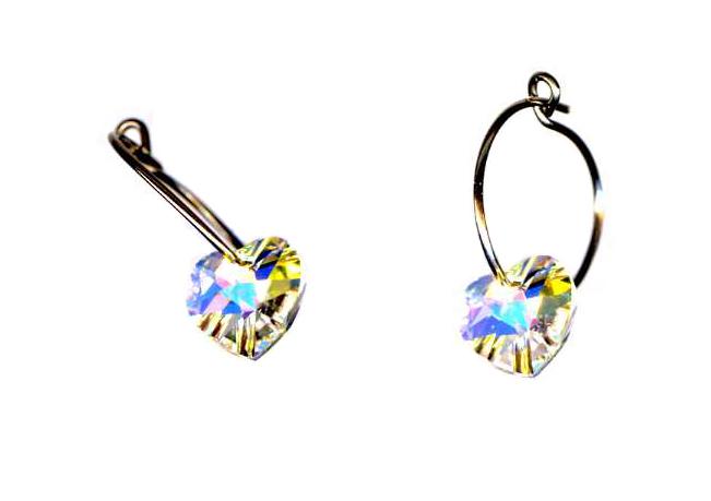titanium sleeper earrings with swarovski crystal heart beads