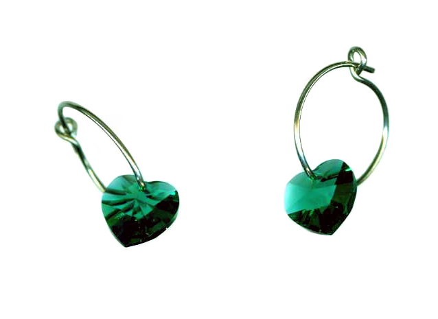 titanium sleeper earrings with green swarovski heart beads