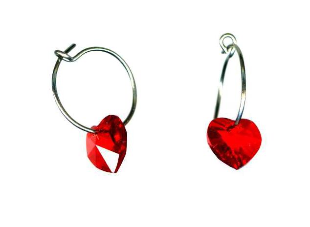 titanium sleeper earrings with red swarovski heart beads
