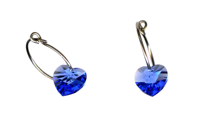 titanium sleeper earrings with blue swarovski crystal hearts