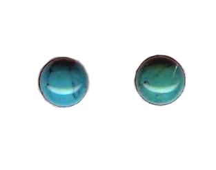 6mm turquoise cab titanium post earrings