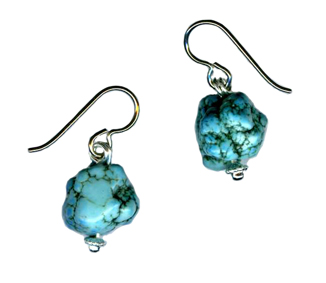 hypoallergenic turquoise nugget earrings