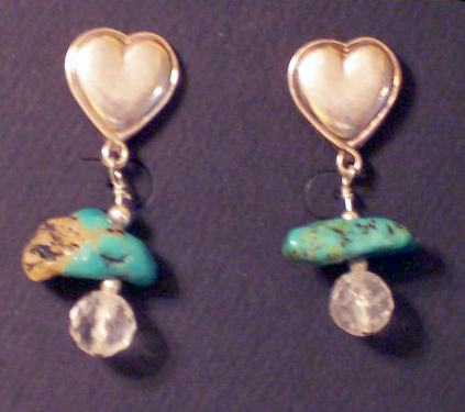 designer turquoise heart post earrings