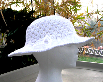 white crochet cotton sun hat