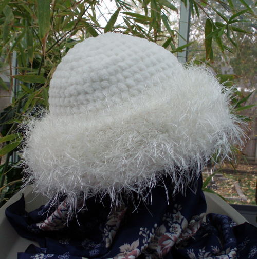 custom basic brim crochet hat side view