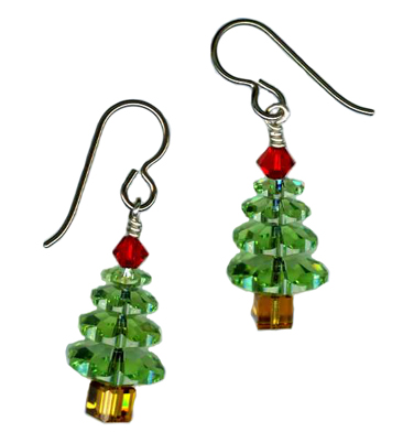 christmas tree dangle earrings