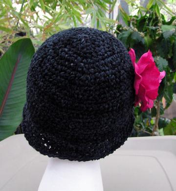 luxury ribbon crochet hat with flower
